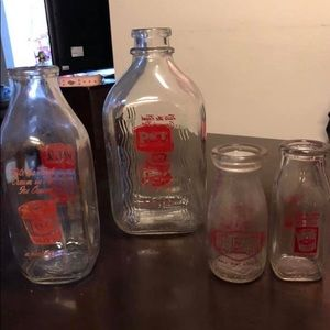 Other - Antique Pet glass milk bottles